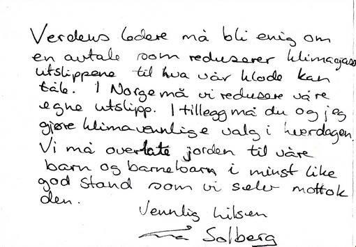 Klimakort som statsminister Erna Solberg har skrevet.